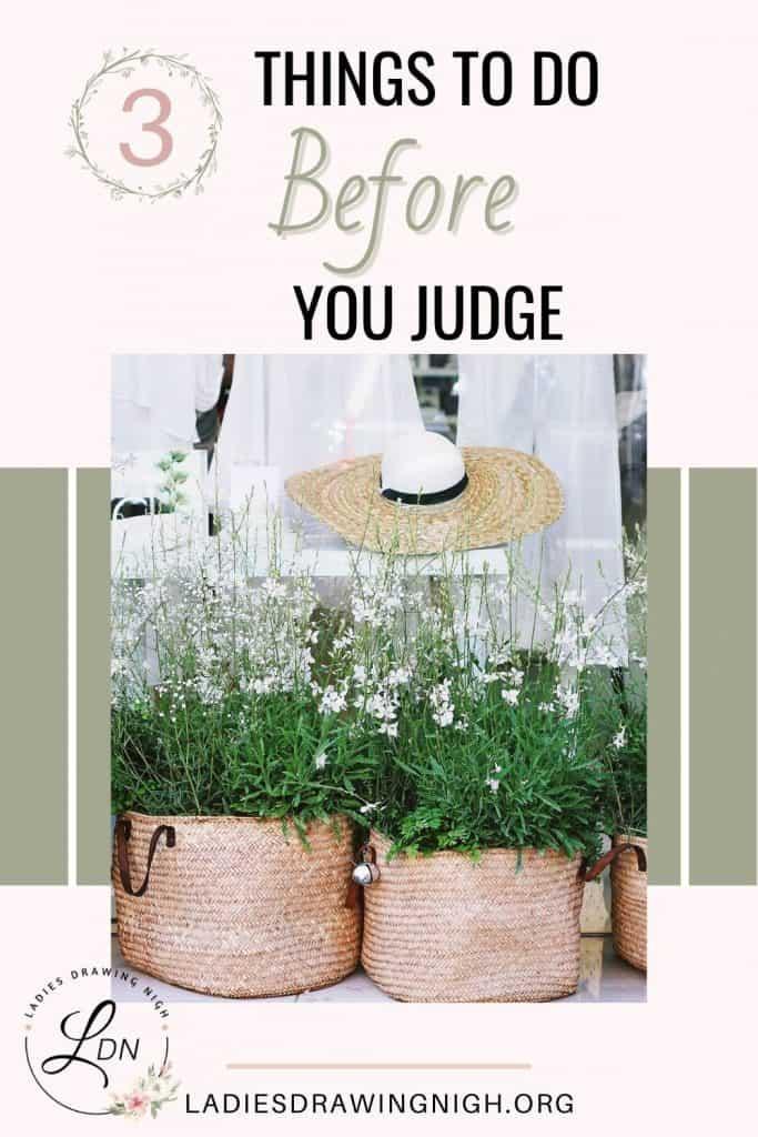flowering plants in woven baskets straw hat