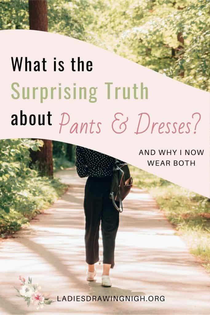 woman in pants walking park path