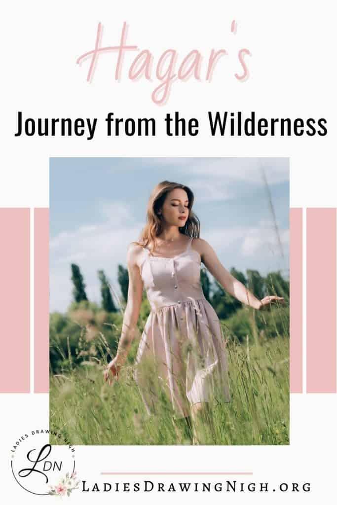 young woman walking through field tall grass