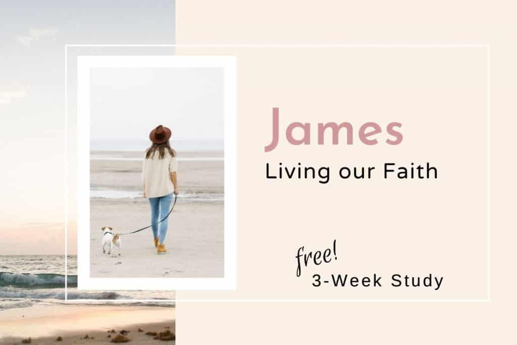 woman walking dog beach James Bible study