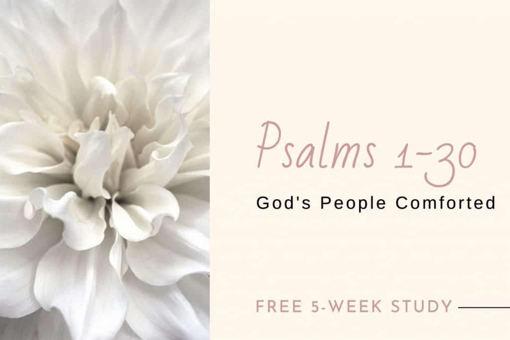 closeup flower bloom text overlay Psalms 1-30 Bible study