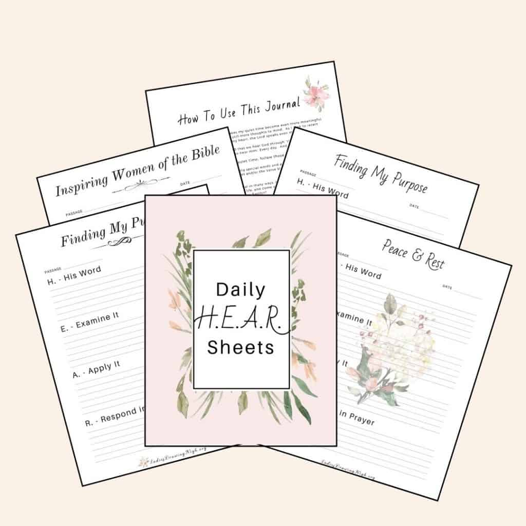 Daily H.E.A.R. worksheets for Walking with God Bible Study Journal