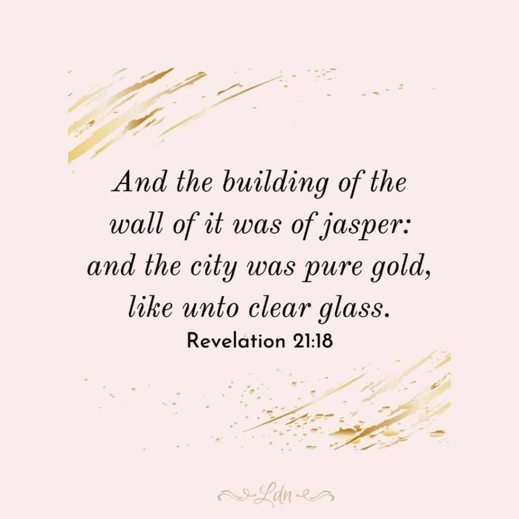 Revelation 21:18 Bible verses about heaven pink background gold splash