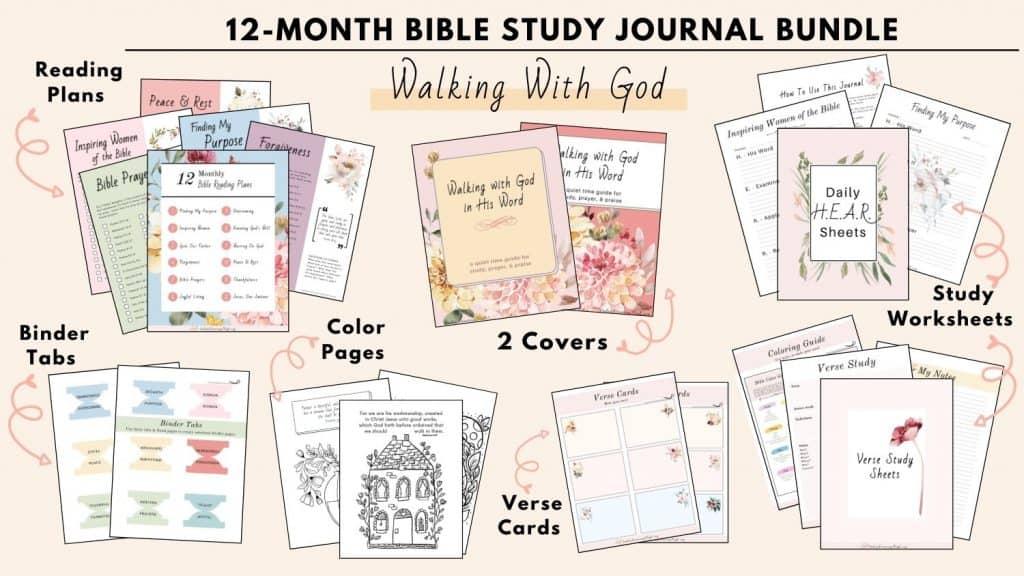 Walking With God Bible Reading Plan bundle worksheets color pages binder tabs
